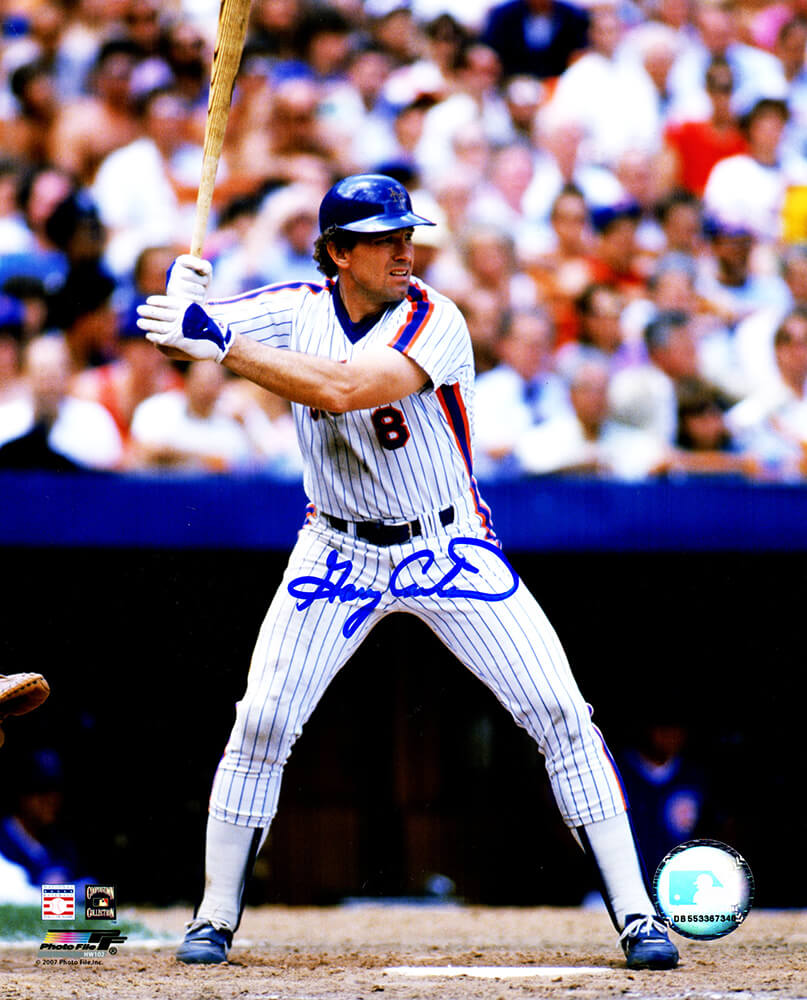 Gary Carter Signed New York Mets Batting Action 8x10 Photo PSM-Powers Sports Memorabilia