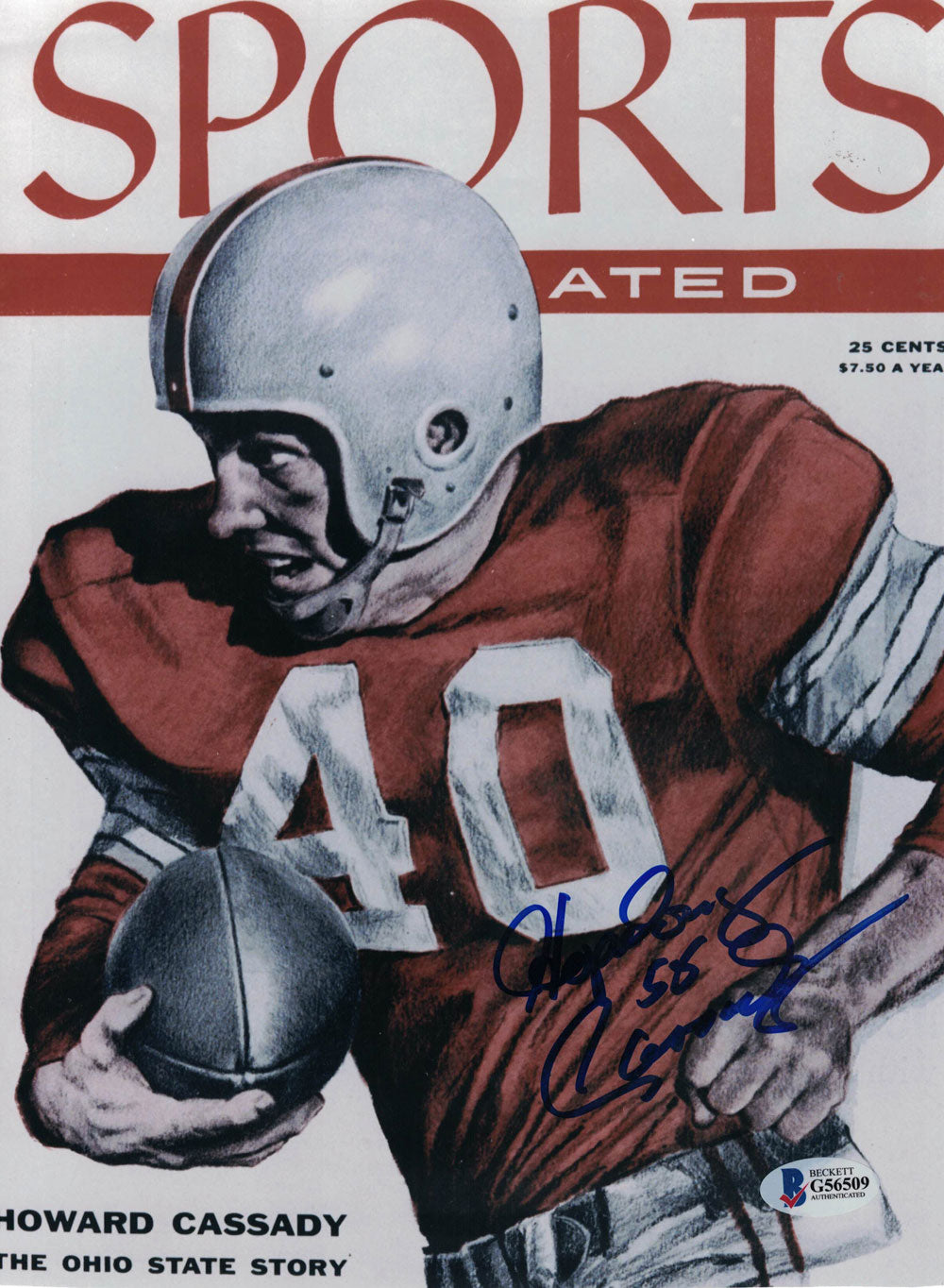 Hopalong Cassady Signed Ohio State Buckeyes Sports Illustrated Cover Reprint BAS PSM-Powers Sports Memorabilia