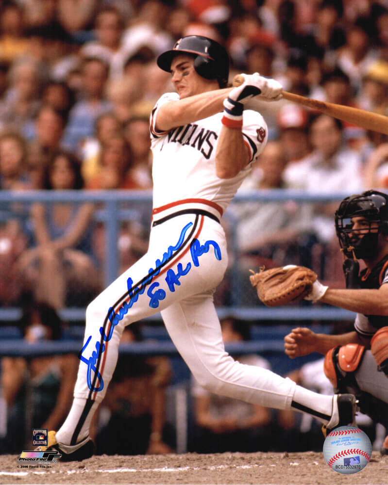 Joe Charboneau Signed Cleveland Indians Swinging Action 8x10 Photo w/80 AL ROY PSM-Powers Sports Memorabilia