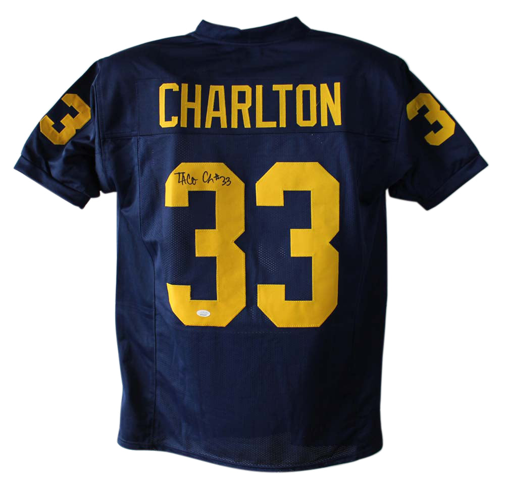 Taco Charlton Autographed Michigan Wolverines Blue XL Jersey JSA PSM-Powers Sports Memorabilia