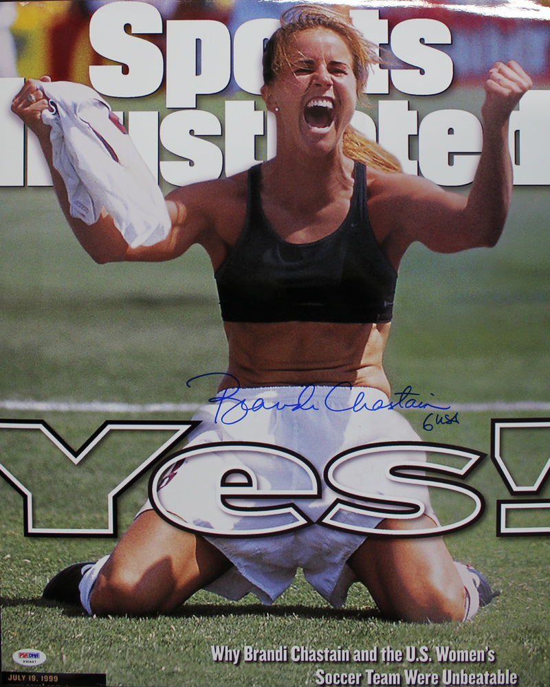 Brandi Chastain Autographed/Signed USA Soccer 16x20 Photo PSA PSM-Powers Sports Memorabilia