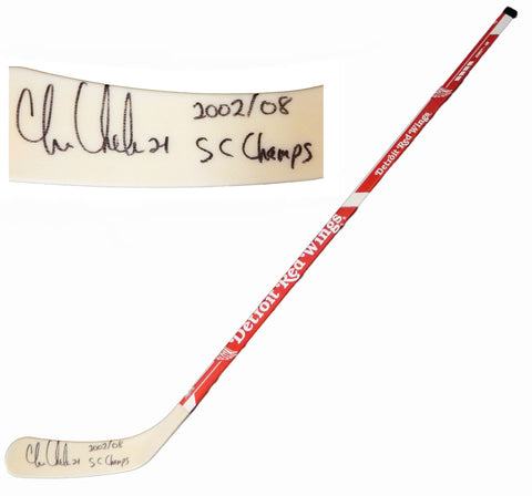 Chris Chelios Signed Detroit Red Wings Logo 48 Inch Full Size Hockey Stick w/2002, 08 SC Champs PSM