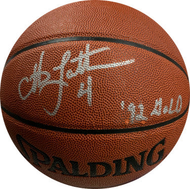 Christian Laettner signed Spalding NBA I/O Basketball w/ #4 & 92 GOLD imperfect- JSA Witnessed #W181980 (Olympic Team USA) PSM-Powers Sports Memorabilia