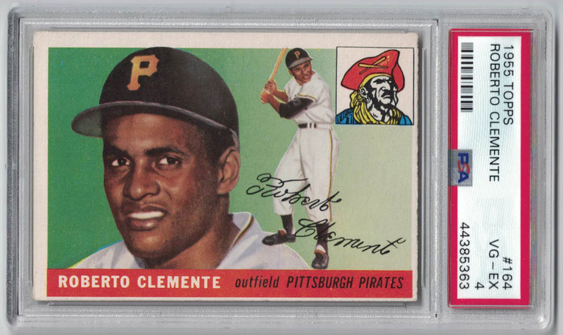 Roberto Clemente 1955 Topps 164 Pittsburgh Pirates PSA VG EX 4 Rookie Card PSM-Powers Sports Memorabilia
