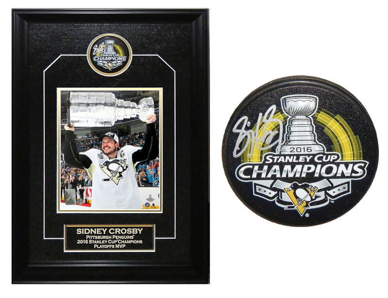 Sidney Crosby Signed & Shadowbox Framed Pittsburgh Penguins 2016 Stanley Cup Champions Logo Hockey Puck With 8x10 Photo PSM-Powers Sports Memorabilia