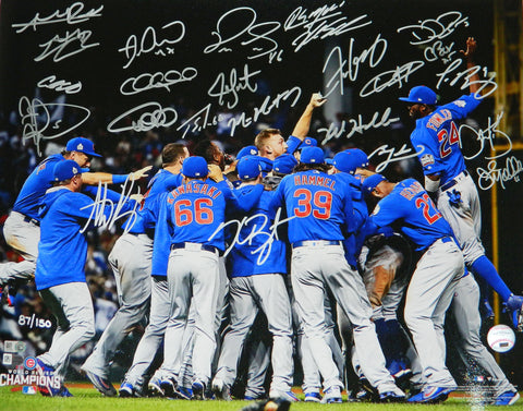 2016 Chicago Cubs Team Signed Chicago Cubs 2016 World Series Pile Up Celebration 16x20 Photo (24 Sigs) PSM