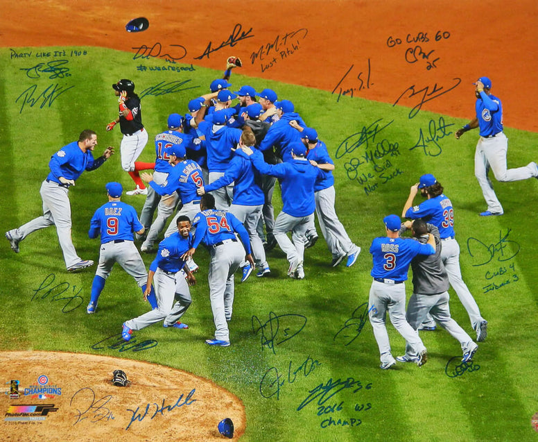 2016 Chicago Cubs Team Signed Chicago Cubs 2016 World Series Celebration 20x24 Photo w/7 Inscriptions (23 Sigs) PSM