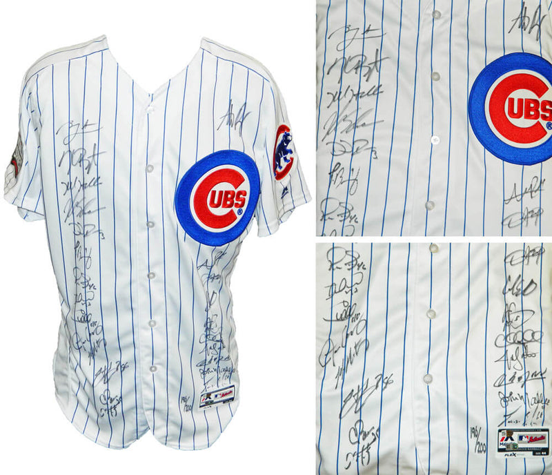 2016 Chicago Cubs Team Signed Chicago Cubs White Pinstripe Majestic Authentic Jersey w/2016 WS Patch (24 Sigs) PSM-Powers Sports Memorabilia