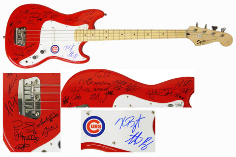2016 Chicago Cubs Team Signed Fender Squier Red Bass Guitar (25 Sigs) PSM-Powers Sports Memorabilia