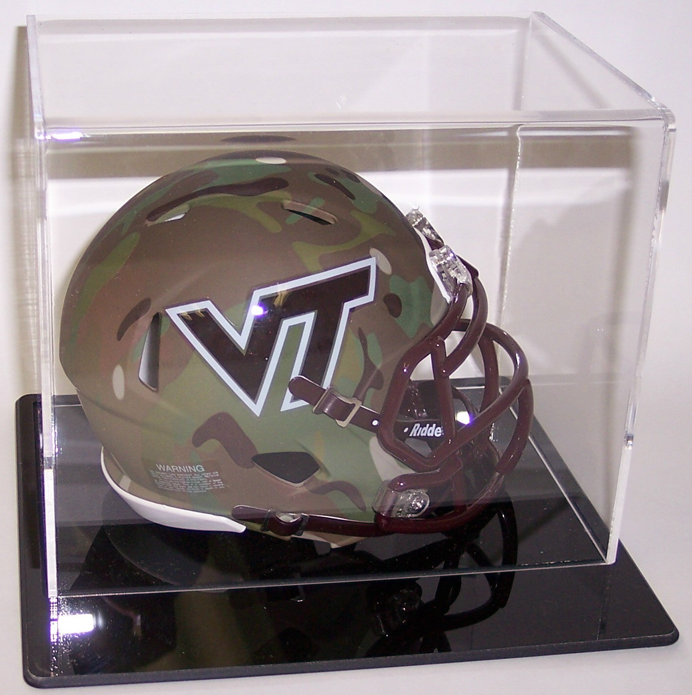 Mini Football Helmet Acrylic Display Case Black Base PSM-Powers Sports Memorabilia