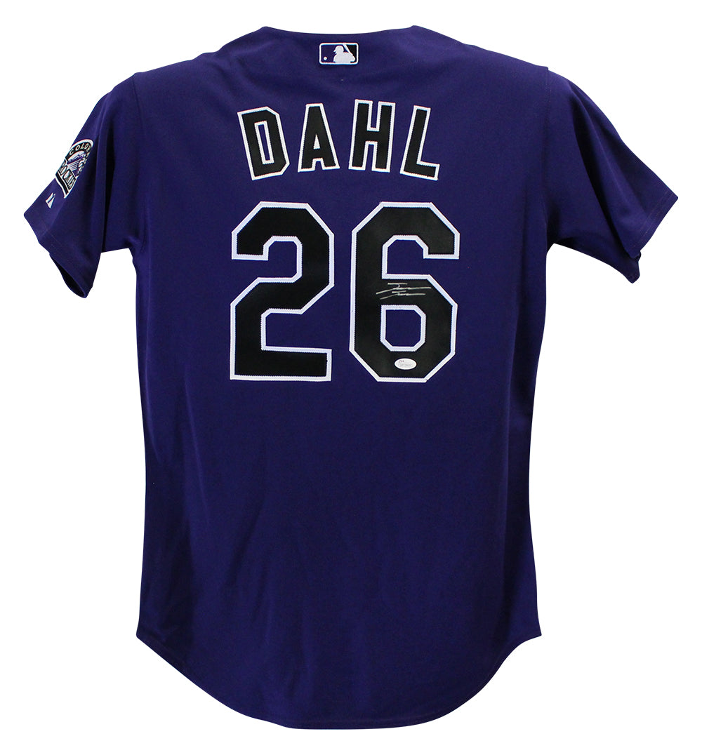 David Dahl Autographed Colorado Rockies Majestic Purple 44 Jersey JSA PSM-Powers Sports Memorabilia