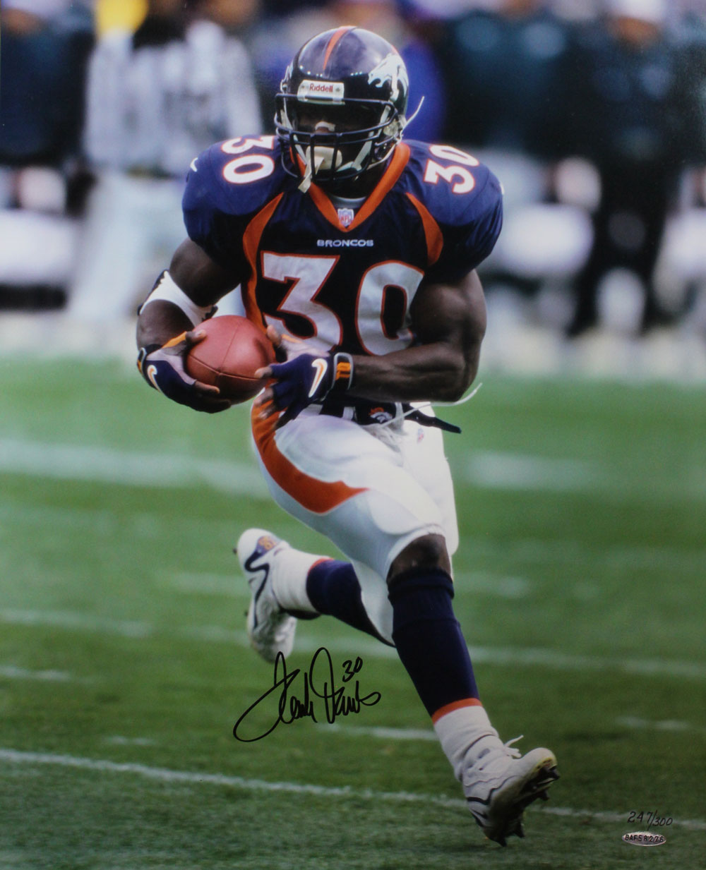 Terrell Davis Autographed/Signed Denver Broncos 16x20 Photo Upper Deck PSM-Powers Sports Memorabilia