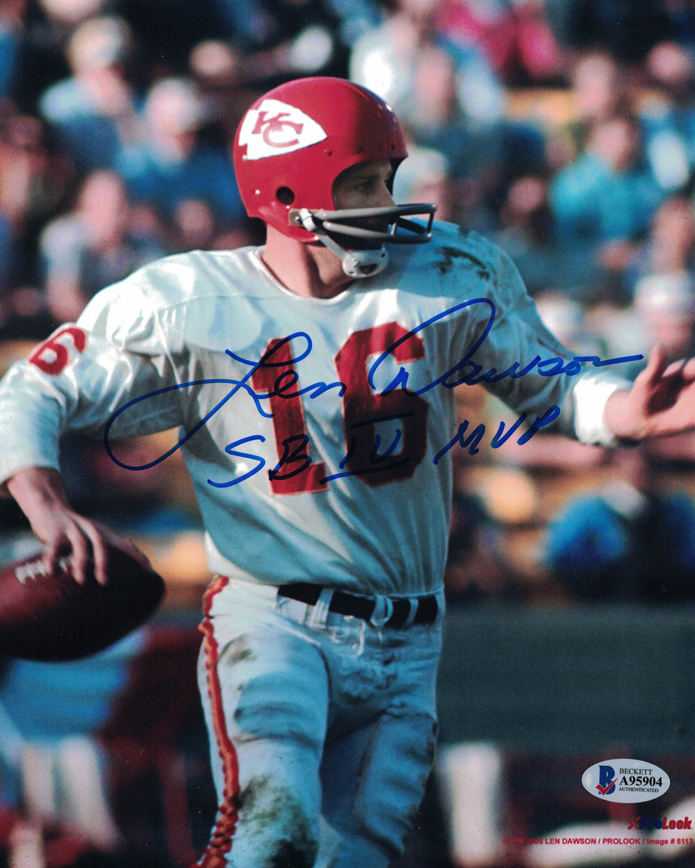 Len Dawson Autographed/Signed Kansas City Chiefs 8x10 Photo MVP BAS PF PSM-Powers Sports Memorabilia