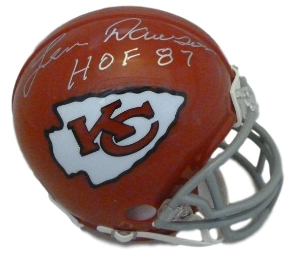 Len Dawson Autographed Kansas City Chiefs Mini Helmet w/HOF 87 & JSA PSM-Powers Sports Memorabilia