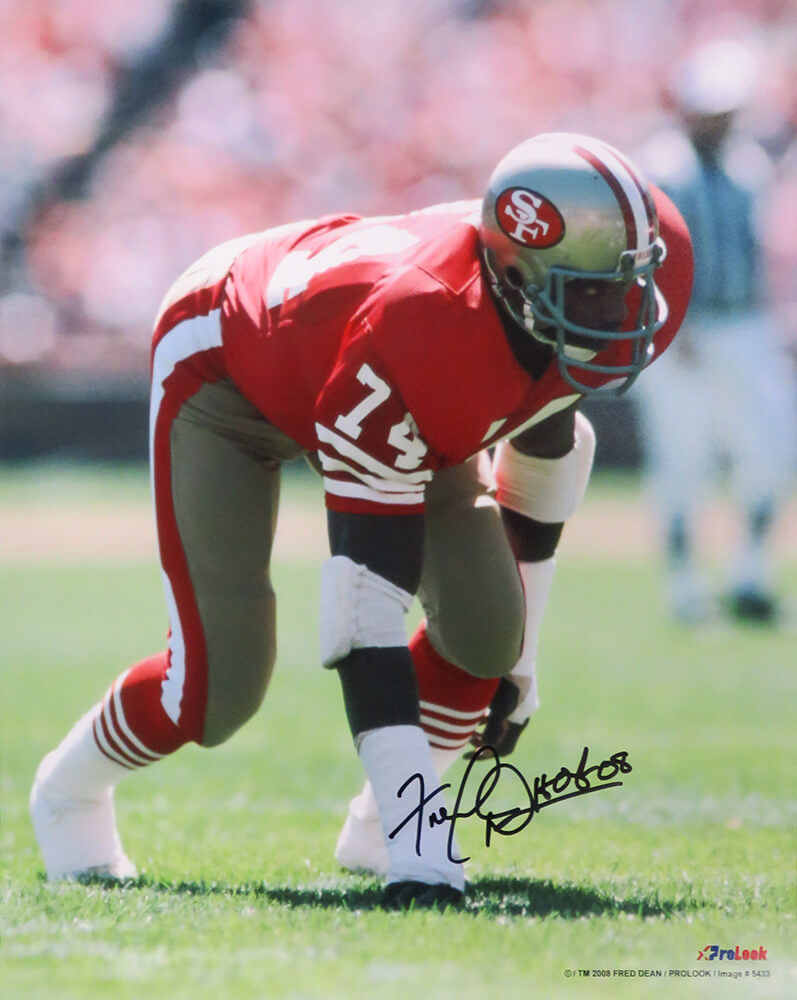 Fred Dean Signed San Francisco 49ers Action 16x20 Photo w/HOF'08 PSM-Powers Sports Memorabilia