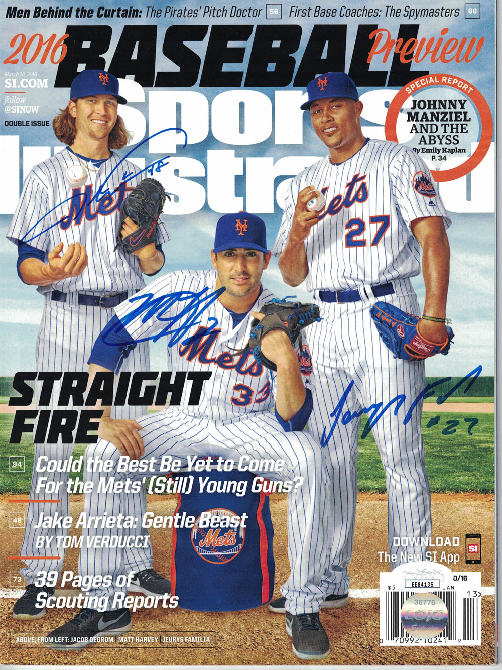Jacob Degrom Harvey & Familia Signed New York Mets Sports Illustrated JSA PSM-Powers Sports Memorabilia