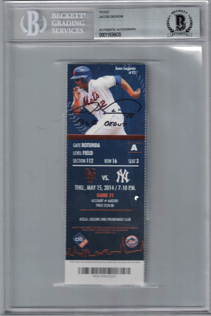 Jacob DeGrom Autographed/Signed New York Mets Ticket MLB Debut BAS Slab PSM-Powers Sports Memorabilia