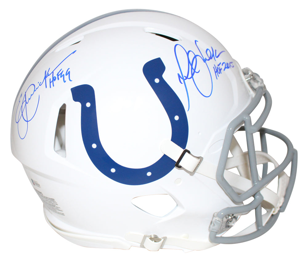 Eric Dickerson & Marshall Faulk Signed Colts Authentic Speed Helmet BAS PSM-Powers Sports Memorabilia