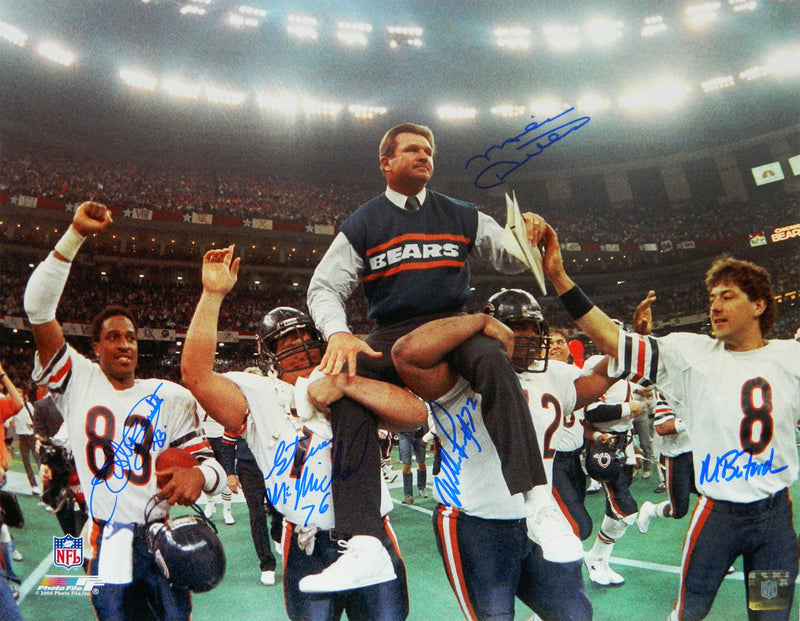 Mike Ditka, Willie Gault, William Perry, Steve McMichael & Maury Buford Signed Bears Super Bowl XX Carried Off 16x20 Photo PSM-Powers Sports Memorabilia
