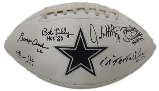 Doomsday Autographed Dallas Cowboys White Logo Football 6 sigs JSA PSM-Powers Sports Memorabilia