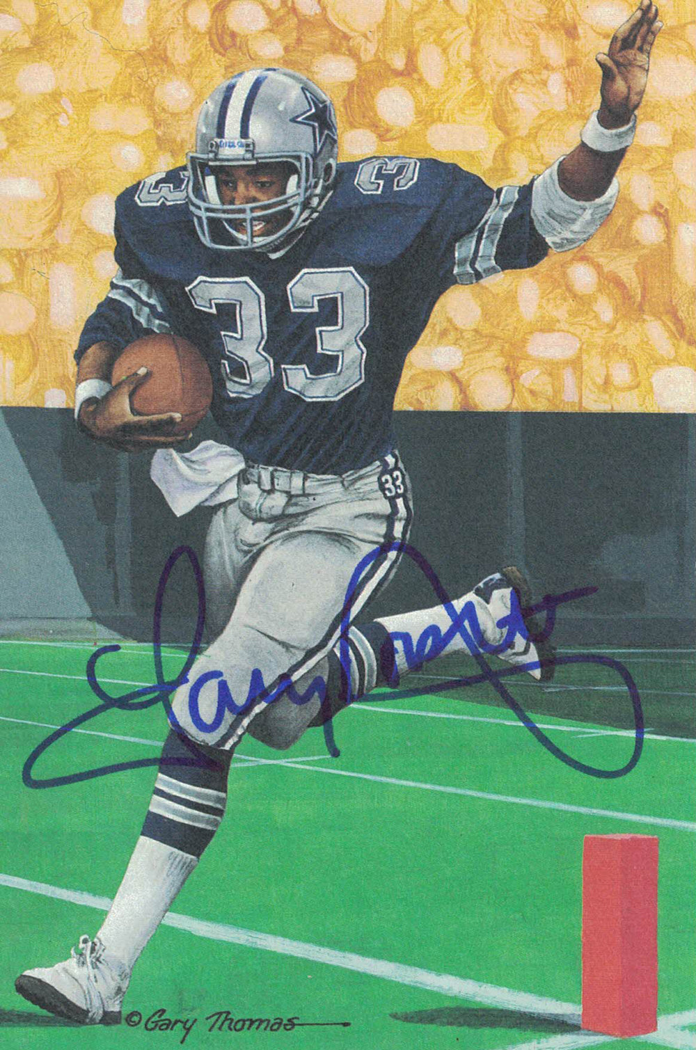 Tony Dorsett Autographed/Signed Dallas Cowboys Goal Line Art Card Blue PSM
