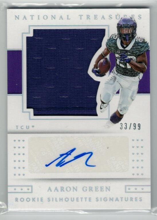 Aaron Green TCU Horned Frogs 2016 National Treasures Collegiate Rookie Silhouette Signatures Jersey & Autograph 33/99-Powers Sports Memorabilia