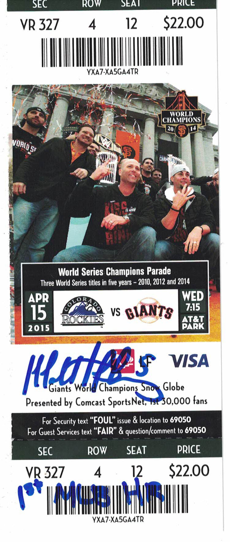 Matt Duffy Autographed/Signed San Francisco Giants Ticket 1st MLB HR JSA PSM-Powers Sports Memorabilia