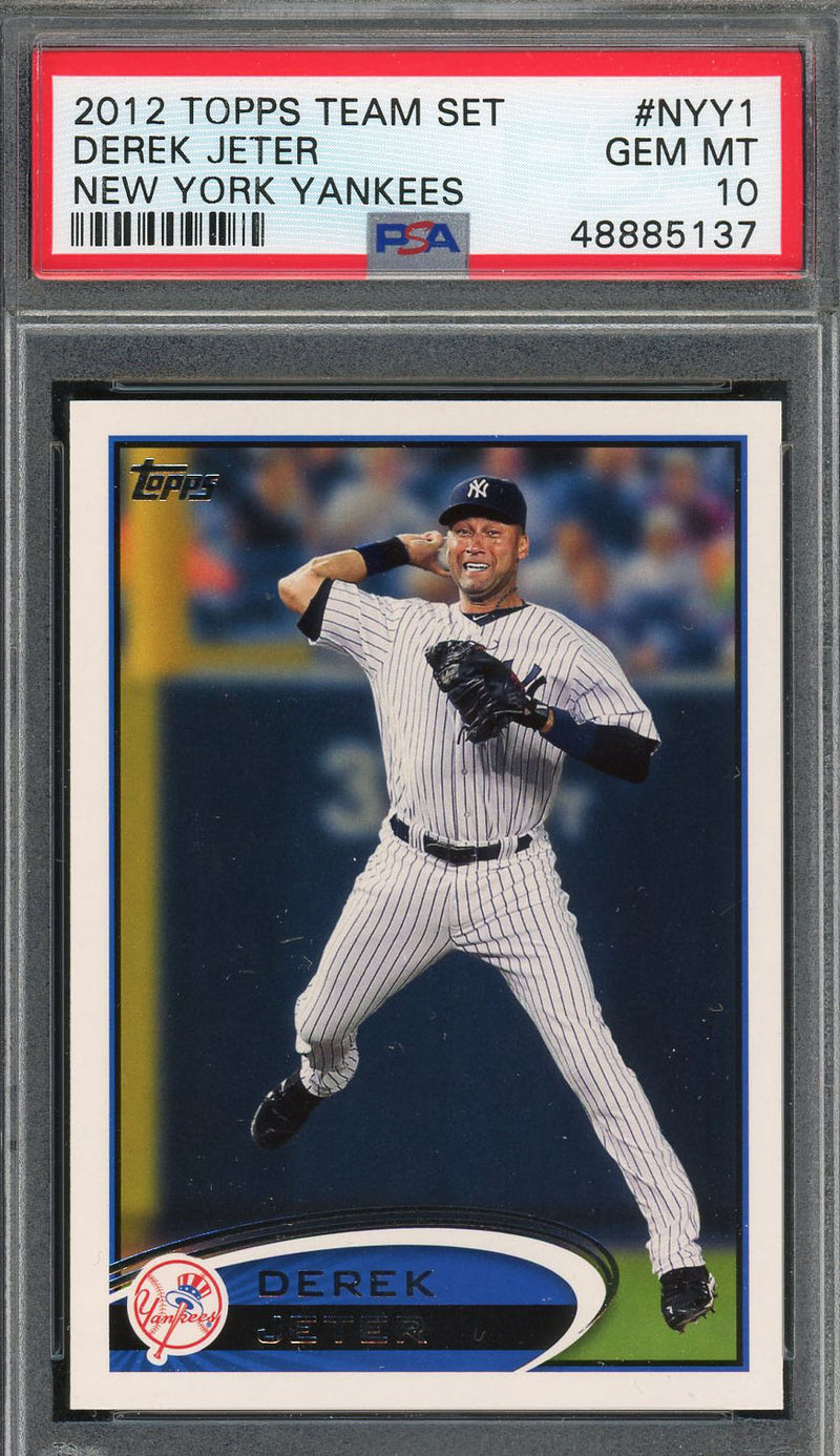 Derek Jeter New York Yankees 2012 Topps Team Set Baseball Card #NYY1 Graded PSA 10 GEM MINT-Powers Sports Memorabilia