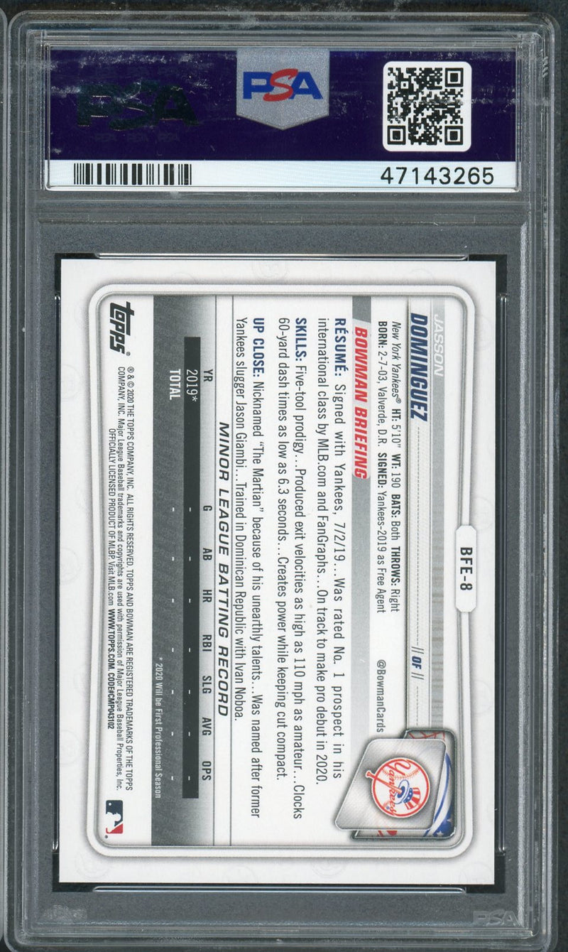 Jasson Dominguez New York Yankees 2020 Bowman 1st Edition Baseball Rookie Card RC #BFE-8 Graded PSA 10 GEM MINT-Powers Sports Memorabilia