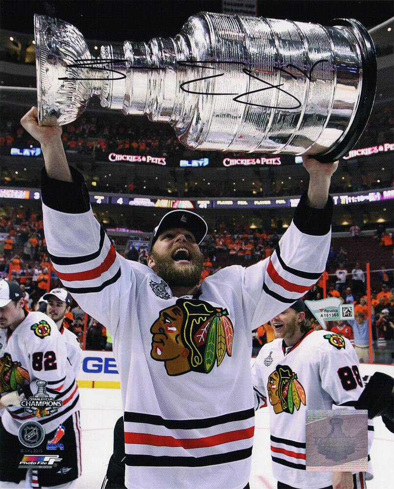 Ben Eager Signed Blackhawks 2010 Stanley Cup Trophy 8x10 Photo PSM-Powers Sports Memorabilia
