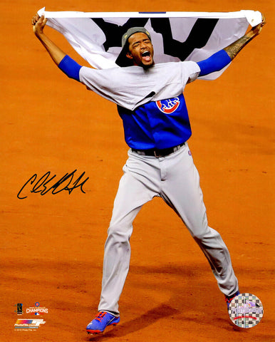 Carl Edwards Jr. Signed Chicago Cubs 2016 World Series Celebration Waving White W Flag 8x10 Photo PSM