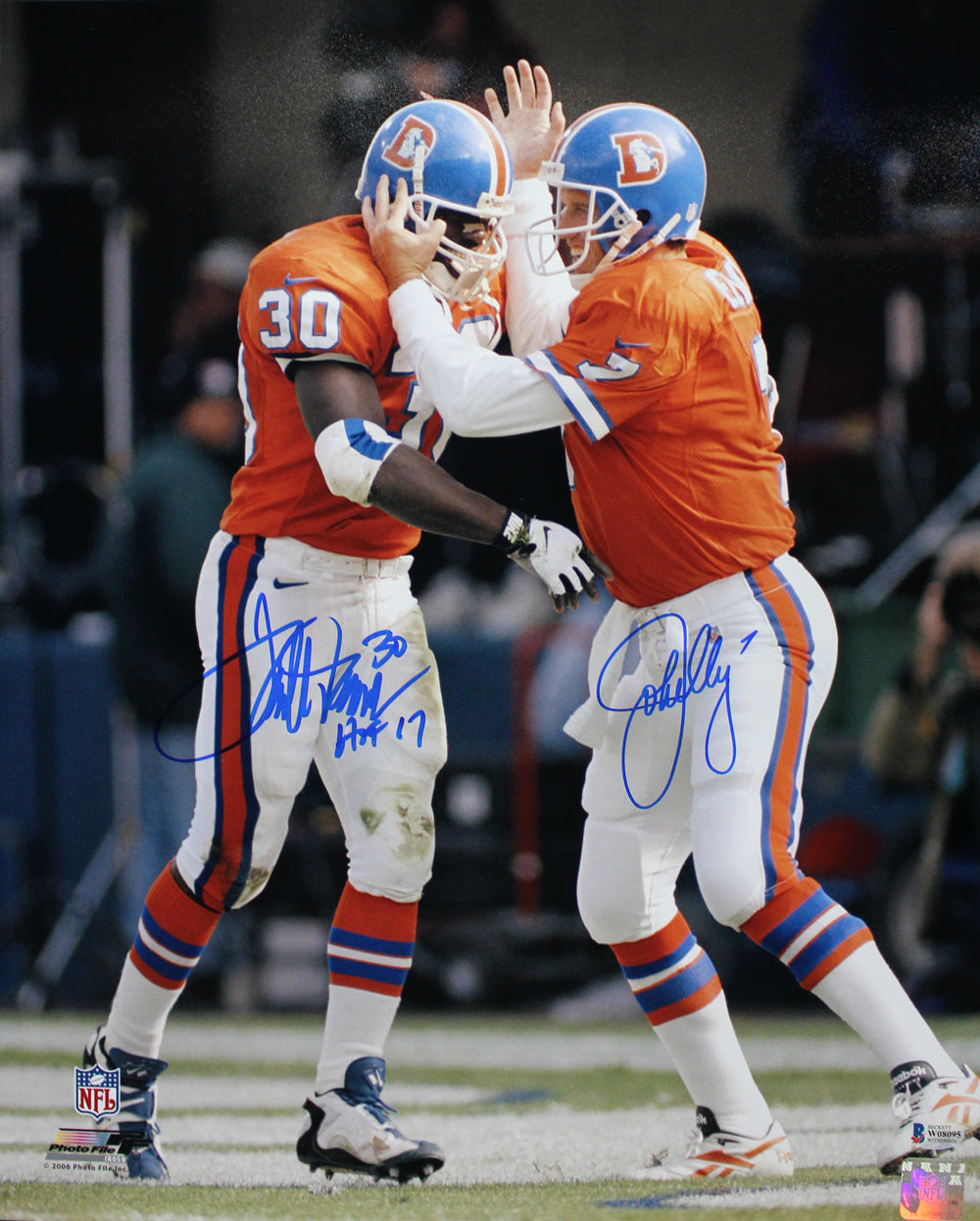 John Elway & Terrell Davis Autographed Denver Broncos 16x20 Photo BAS PSM-Powers Sports Memorabilia