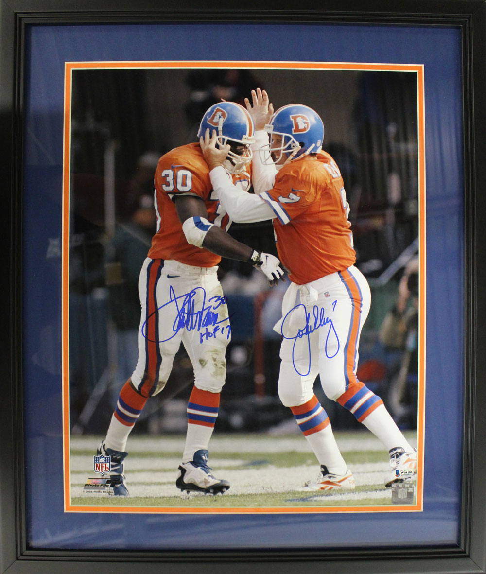 John Elway & Terrell Davis Signed Denver Broncos Framed 16x20 Photo BAS PSM-Powers Sports Memorabilia