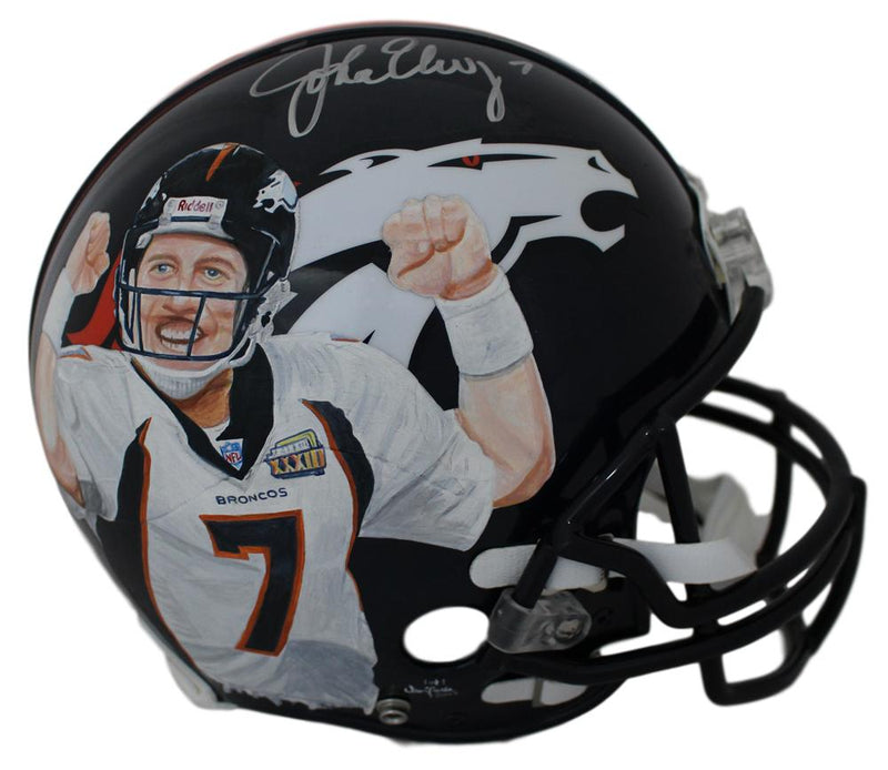 John Elway Autographed Denver Broncos Authentic Painted Art Helmet JSA PSM-Powers Sports Memorabilia