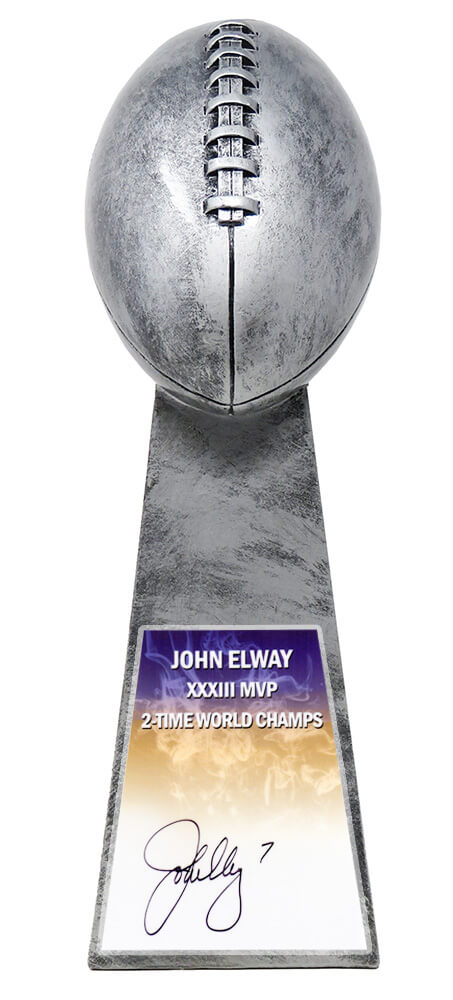 John Elway Signed Football World Champion 15 Inch Replica Silver Trophy PSM-Powers Sports Memorabilia