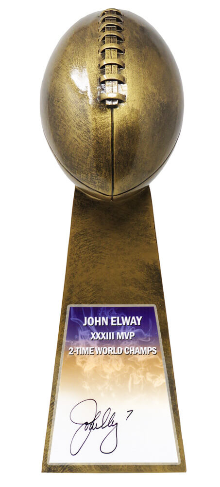 John Elway Signed Football World Champion 15 Inch Replica Gold Trophy PSM-Powers Sports Memorabilia