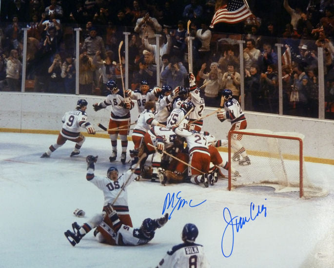 Mike Eruzione & Jim Craig Autographed 1980 USA Miracle on Ice 16x20 JSA PSM-Powers Sports Memorabilia
