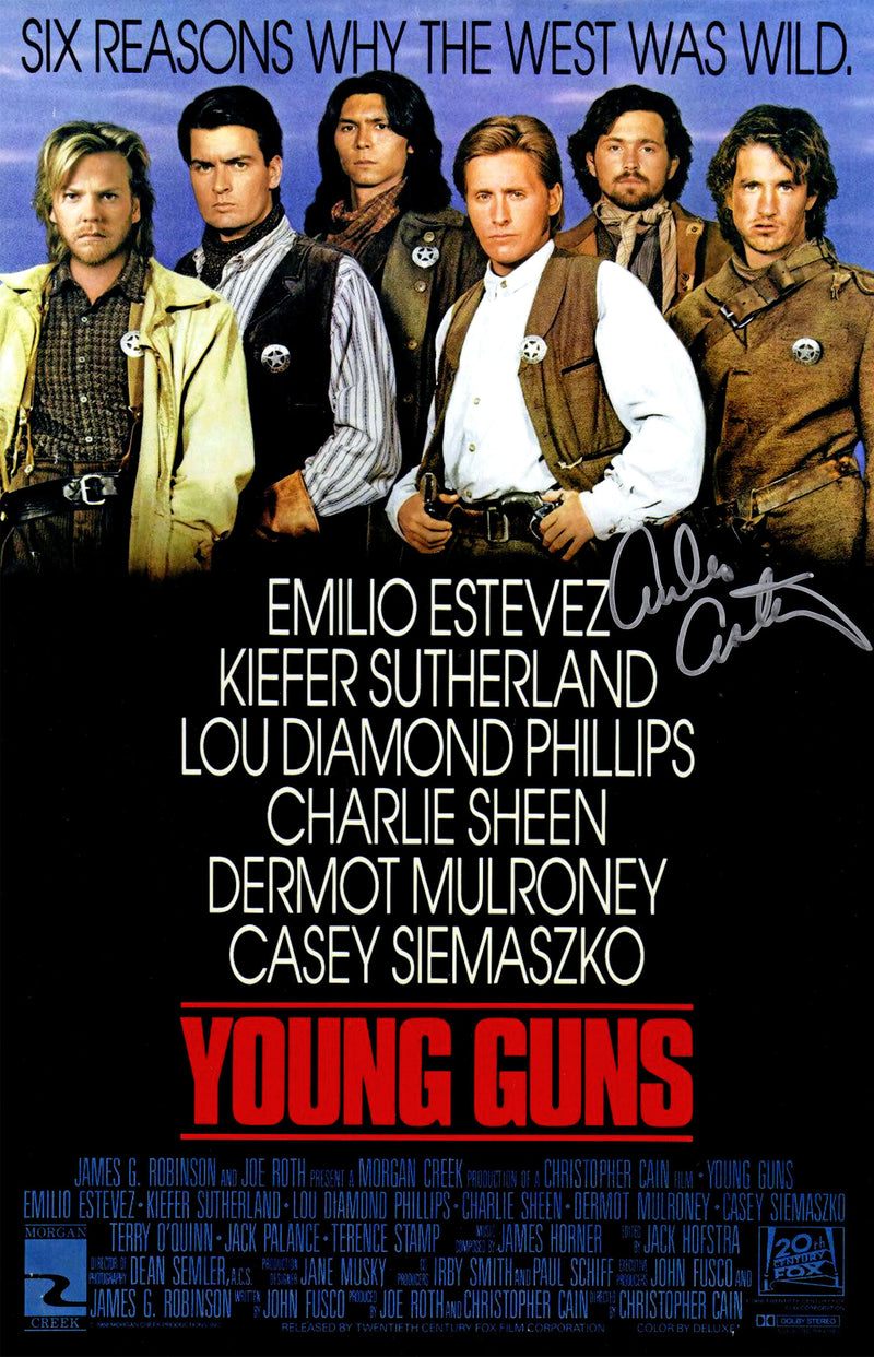 Emilio Estevez Signed Young Guns 11x17 Movie Poster PSM-Powers Sports Memorabilia