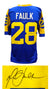 Marshall Faulk Signed Blue Throwback Custom Football Jersey PSM-Powers Sports Memorabilia