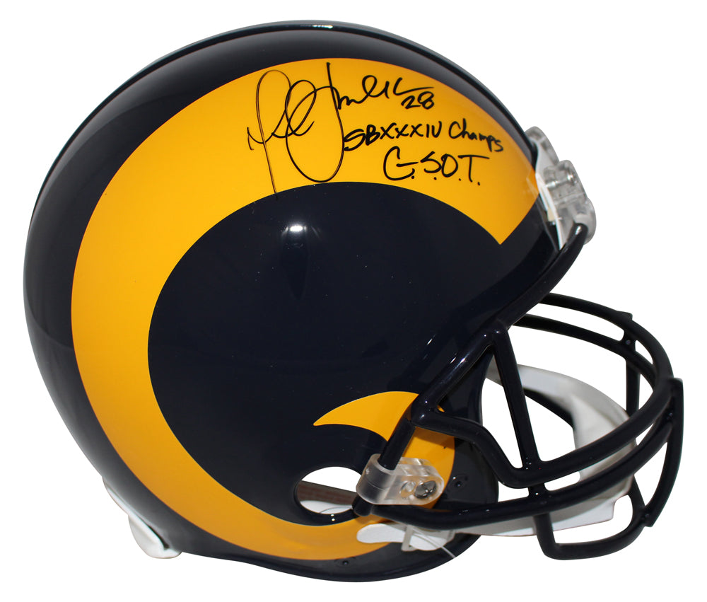 Marshall Faulk Autographed St Louis Rams Authentic TB Helmet 2 Insc BAS PSM-Powers Sports Memorabilia