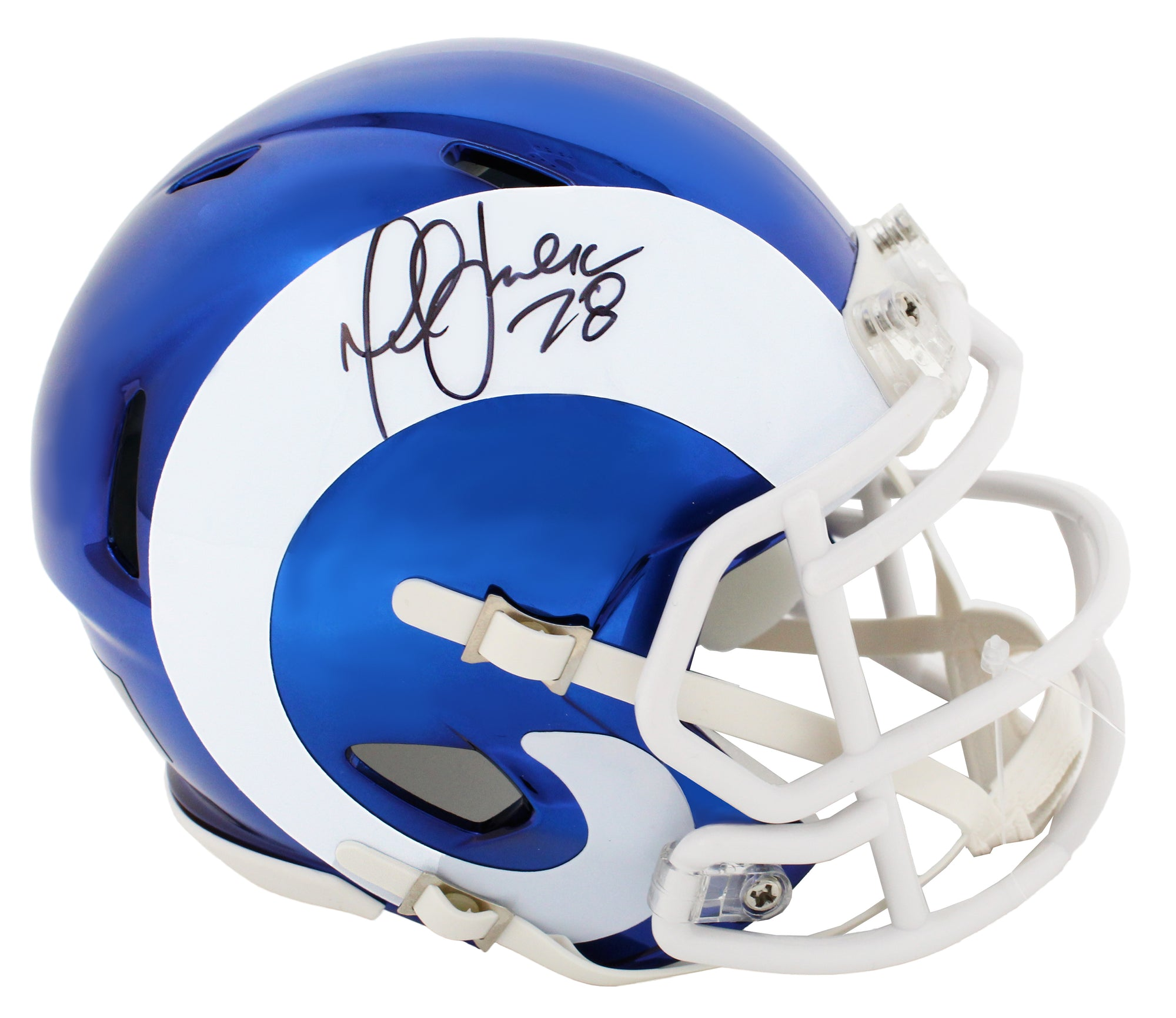 Marshall Faulk Signed Rams Chrome Riddell Speed Mini Helmet PSM-Powers Sports Memorabilia