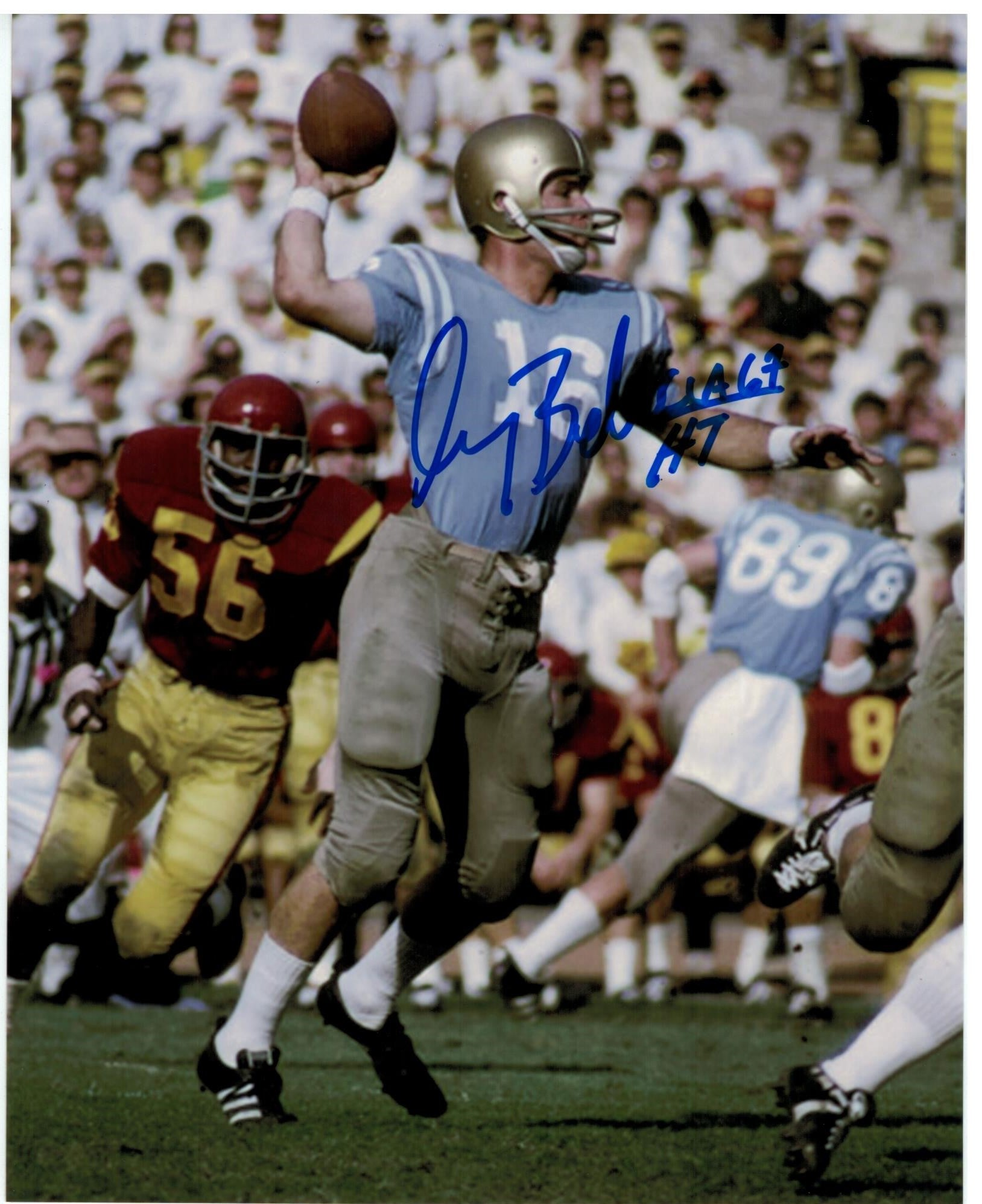 "Gary Beban UCLA Bruins Autographed 8x10 Photo Inscribed ""UCLA 67 HT"" PSM-Powers Sports Memorabilia"