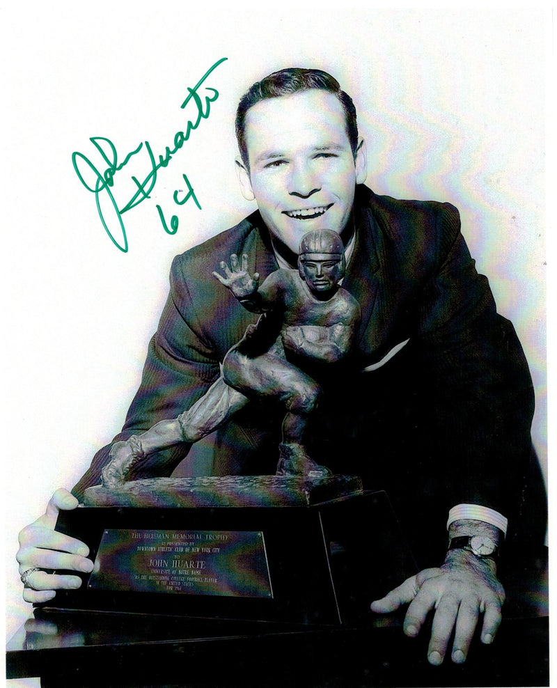 "John Huarte Notre Dame Autographed 8x10 Photo Inscribed ""64"" for the year he won the Heisman Trophy PSM-Powers Sports Memorabilia"
