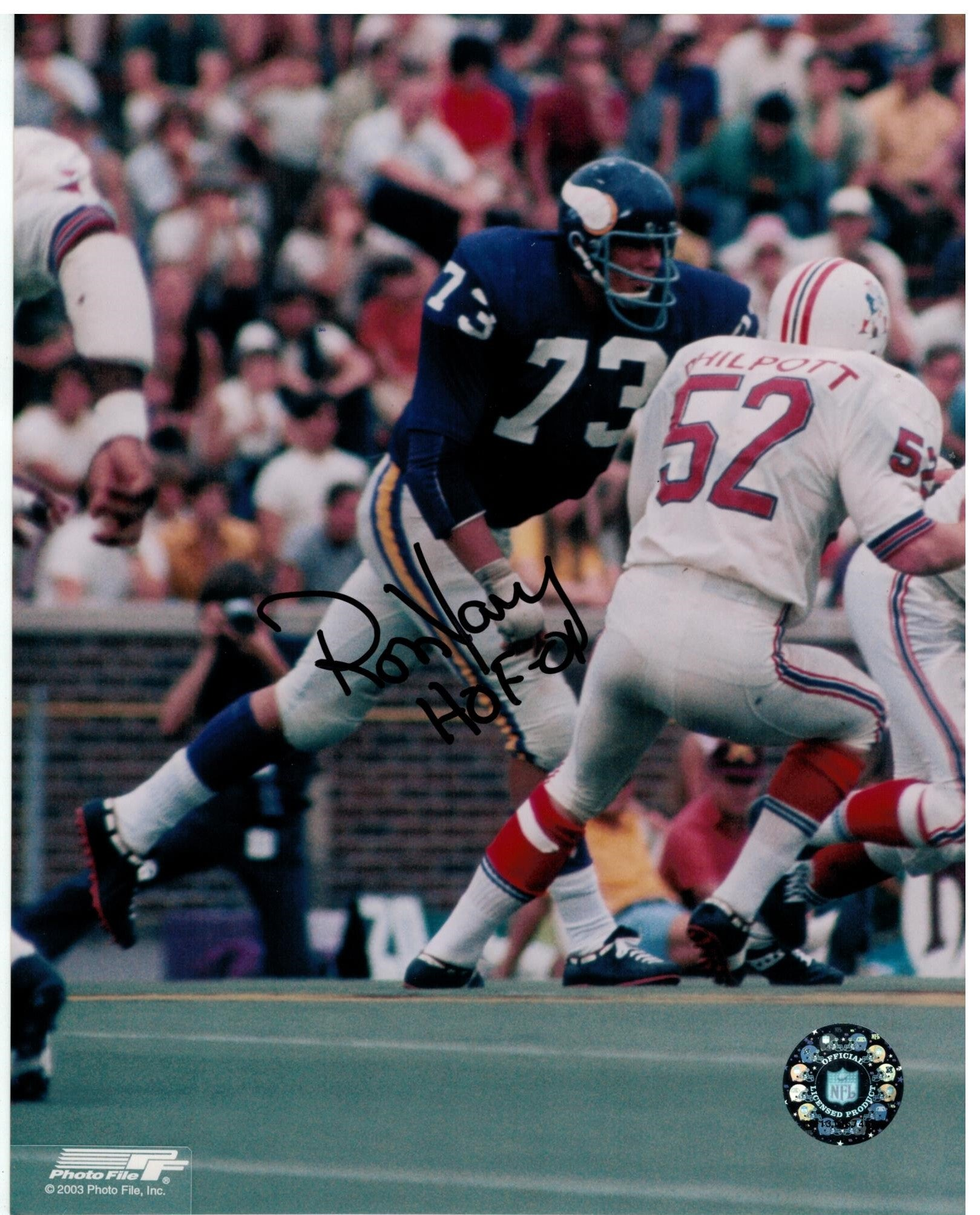 "Ron Yary Minnesota Vikings Autographed 8x10 Photo Inscribed ""HOF 01"" PSM-Powers Sports Memorabilia"