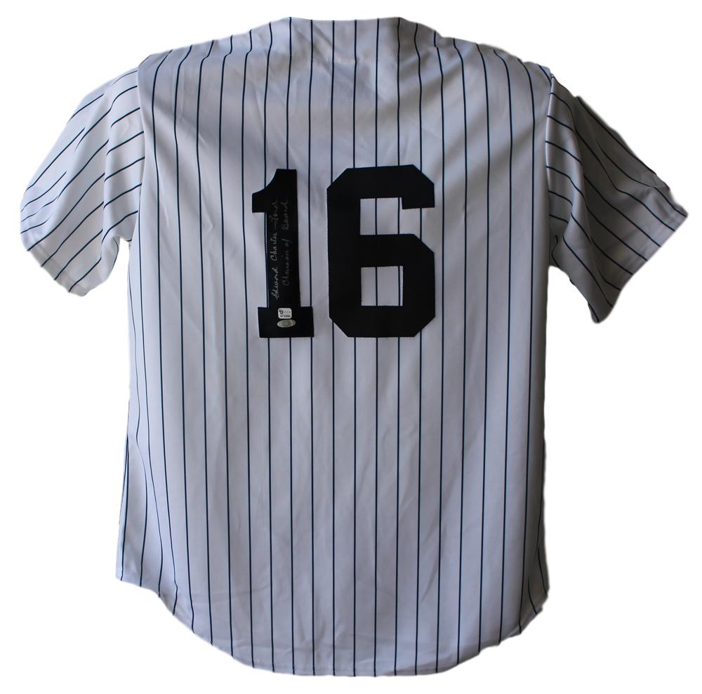 Whitey Ford Signed New York Yankees Majestic White L Jersey Steiner PSM-Powers Sports Memorabilia