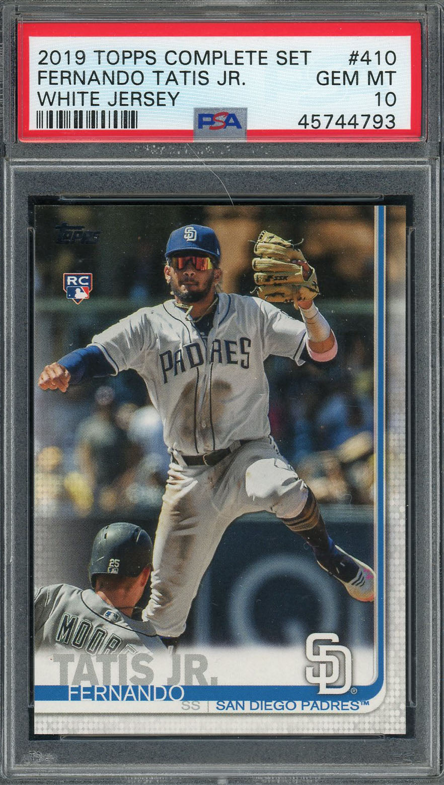 Fernando Tatis Jr San Diego Padres 2019 Topps Complete Baseball Rookie Card RC #410 Graded PSA 10 Gem Mint-Powers Sports Memorabilia