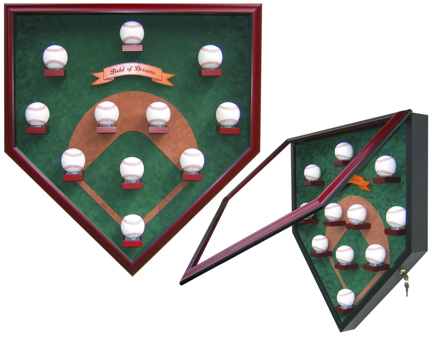 "MY FIELD OF DREAMS ""MODERN DAY"" HOMEPLATE SHAPED DISPLAY CASE-Powers Sports Memorabilia"