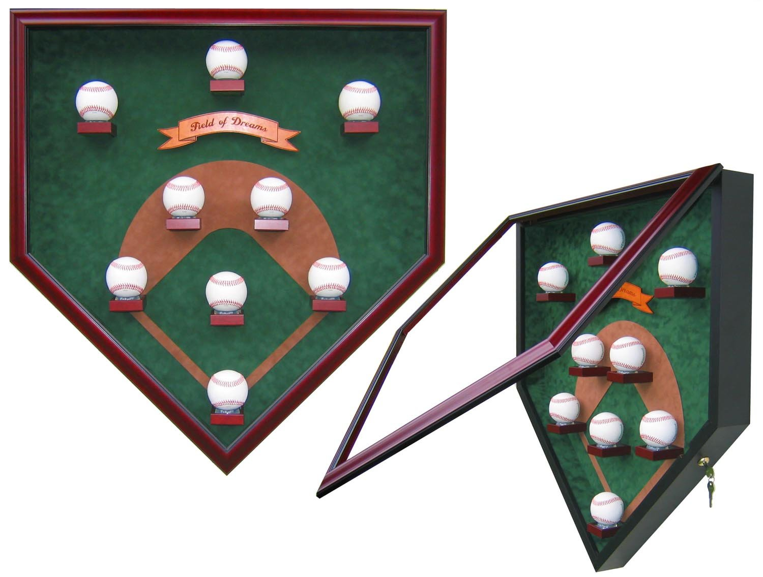 "MY FIELD OF DREAMS ""VINTAGE EDITION"" HOMEPLATE SHAPED DISPLAY CASE-Powers Sports Memorabilia"