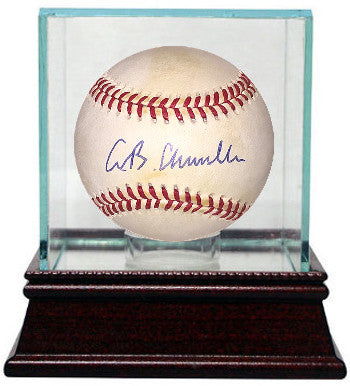 AB Chandler signed Official National League Baseball w/ Glass Case minor tone PSM-Powers Sports Memorabilia
