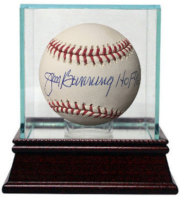 Jim Bunning signed Official Major League Baseball w/ Glass Case HOF 96- JSA Hologram #F27375 (Tigers/Phillies) PSM-Powers Sports Memorabilia